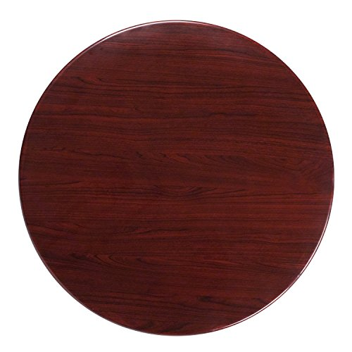 (Flash Furniture 36'' Round High-Gloss Mahogany Resin Table Top with 2'' Thick Drop-Lip)