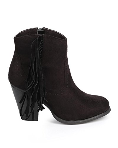 Liliana DC24 Women Suede Round Toe Fringe Zip Riding Ankle Boot - Black fTfc2u8d