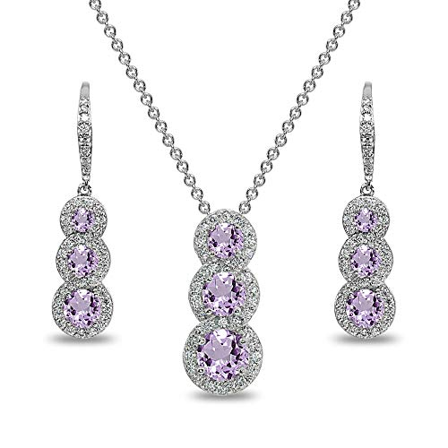 Sterling Silver Amethyst Journey Halo 3-Stone Pendant Necklace & Leverback Earrings Set for Women
