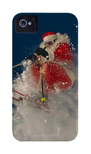 Case-Mate Barely There National Geographic Designer-Schutzhülle für iPhone 4°/°4S, Weihnachtshülle, Design Skifahrender Nikolaus