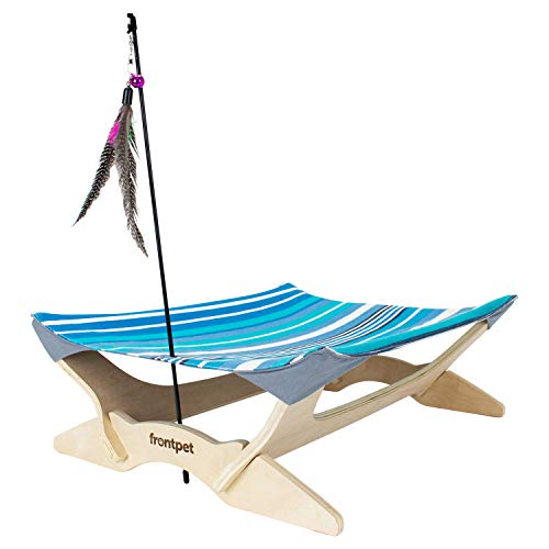 FrontPet Canvas Cat Hammock Bed, Luxury Lounger for Cats and Small Dogs. Includes Wood Base, Comfy Bed Hammock, and Feather Toy