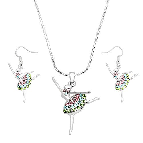 Lola Bella Gifts Crystal Ballet Dancer Ballerina Dance Pendant Necklace and Earrings Set with Gift Box