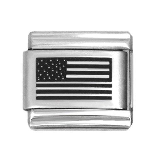 USA Flag Laser Italian Charm Stainless Steel Bracelet Link - American Flags Laser Charm