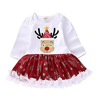 YOUNGER TREE Christmas Baby Girls Outfits Merry Christmas Deer Romper Tutu Dress Up Clothes (White, 2-3T)