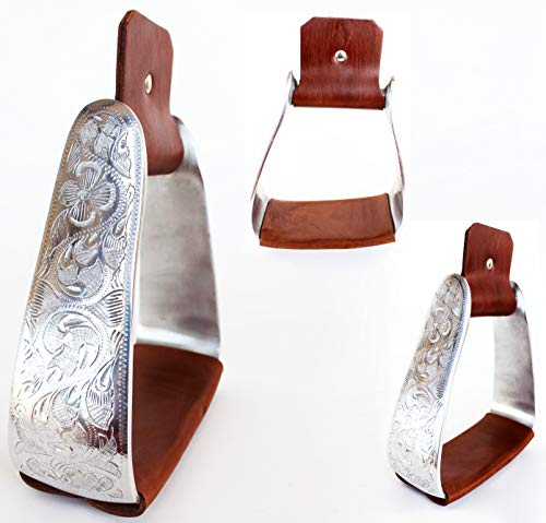 PRORIDER Horse 5 1/2″ Wide Angled Slanted Sloped Roper Aluminum Engraved Stirrups 5196