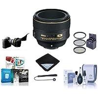 Nikon 58mm f/1.4G AF-S NIKKOR Lens U.S.A. - Bundle with 72mm Filter Kit, Cleaning Kit, Lens Wrap, Cap Leash, Flex Lens Shade, Software Package