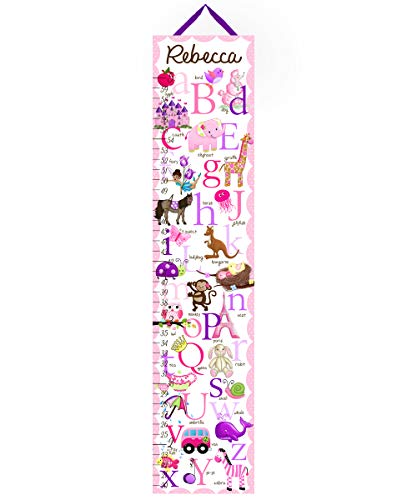 Toad and Lily Canvas GROWTH CHART A to Z Animal Alphabet Girls Bedroom Kids Baby Nursery Wall Art GC0010