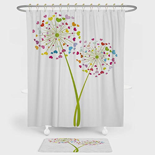 Floral Shower Curtain And Floor Mat Combination Set Spring Dandelion Flower with Heart Shaped Colorful Petals Romance Valentines Design For decoration and daily use Multicolor (Petal Design Flower Knob)