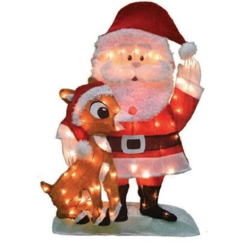 Outdoor Lighted Christmas Santa Reindeer Decoration - 8