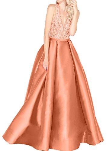 V Langes Kleider Orange Satin Damen Steine Abschlussballkleider Jugendweihe Lilac Ausschnitt Charmant Pailletten mit Abendkleider tqn1EwzOCx