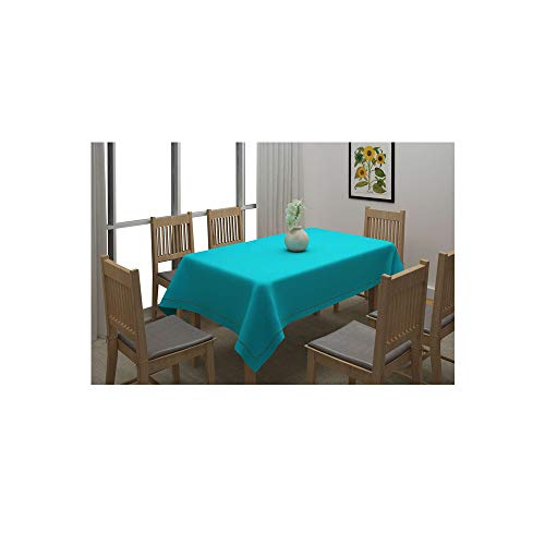 HomeStop Swayam Solid Rectangular 6 Seater Table Cover  Blue_Free Size