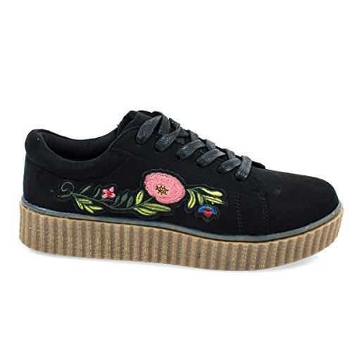 Stealthy02M Black Embroidered Floral Patchwork Platform Lace Up Creeper Sneaker. - Sneakers Spice Platform Girls
