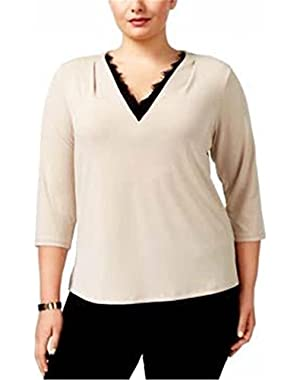 Calvin Klein Plus Size Lace-Trim V-Neck Top, 3X (Latte)