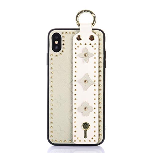 (OEMDIY Case for iPhone Xs MAX Leather Silicone Soft Phone Case Back Cover with Wrist Strap Stand for Apple iPhone Xs Max Cases 6.5 inch (Beige))