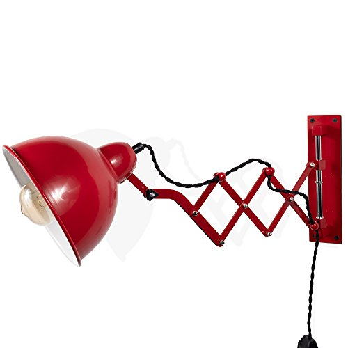Rustic State Vintage Design Wall Reading Scissor Extension Accordion Lamp with a Dimmable Toggle Switch and 4 Watt LED Edison Light Bulb (Red)