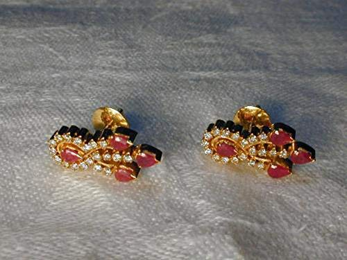 Magnificent Estate 18K Yellow Gold Ruby Rubies Diamond Earrings