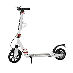 Adult White Kick Scooter Portable Lightweight Adjustable Suspension Disc Hand Brake