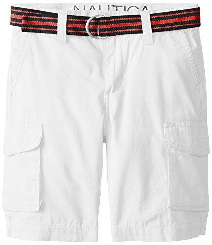 Nautica Little Boys' Classic Belted Cargo Short, Eto White,7