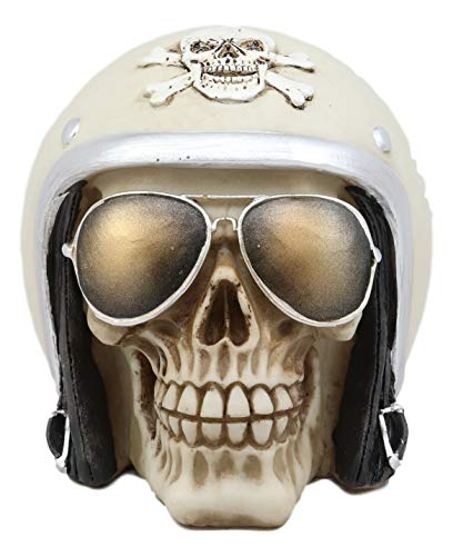Ebros Aviation Airman Fighter Pilot Helmet Skull With Aviator Sunglasses Shades Statue Ossuary Skeleton Macabre Halloween Graveyard Spooky Skulls ()