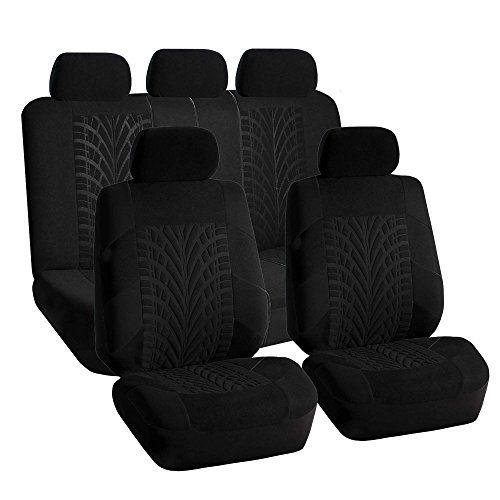 (FH GROUP FH-FB071115 Complete Set Travel Master Seat Covers Airbag Ready & Rear Split Solid Black- Fit Most Car, Truck, Suv, or Van)