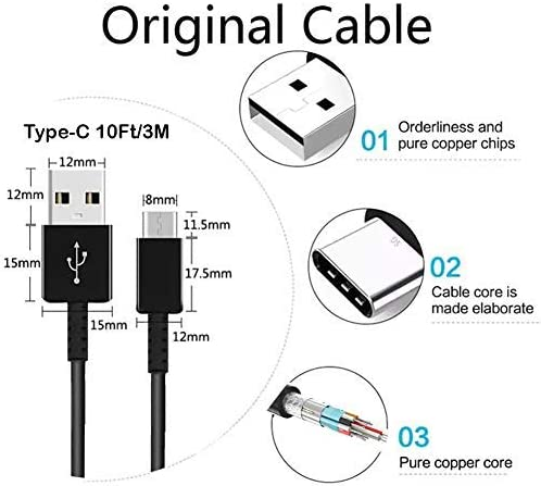 Authentic Short Two 8inch USB Type-C Cable for Huawei Mate 9 Also Fast Quick Charges Plus Data Transfer! White+Black