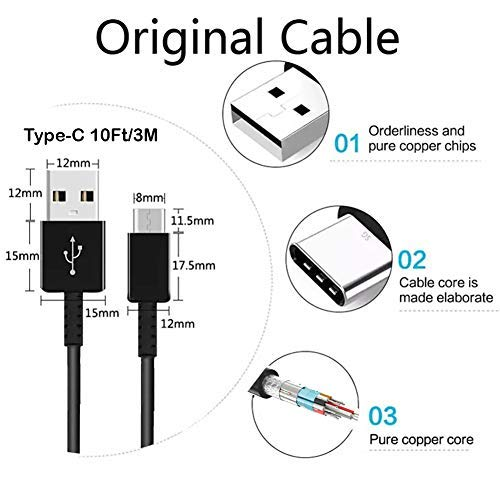 Authentic Short 8inch USB Type-C Cable for Xiaomi Redmi Note 9S Also Fast Quick Charges Plus Data Transfer! Black
