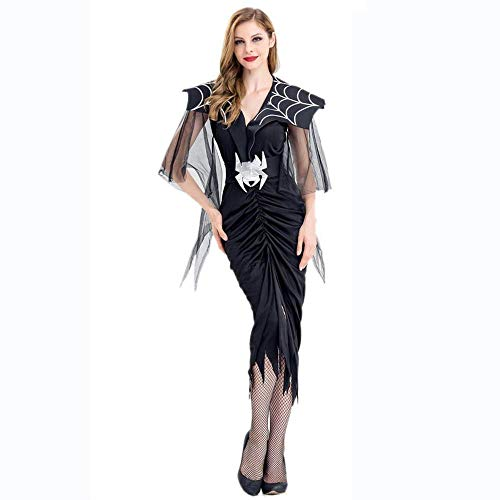 Fashion-Cos1 Halloween Girls Witch Ghost Bride Queen Vampire Costume Women Spider Fancy Dress Up Masquerade Role Play Uniform Cosplay (Size : M)]()