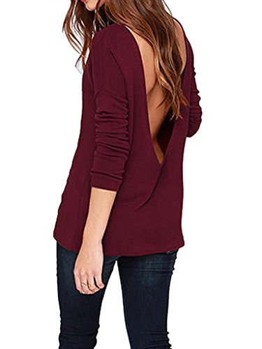 Choies Women's Black/Red Long Sleeve Backless Drape Cut Out Back Plain Loose T-shirt M