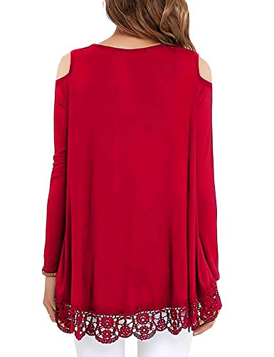 ee9dfc246 RAGEMALL Womens Cold Shoulder Tops Long Sleeve Lace Trim Tunic Blouse Tops  for Women Red M