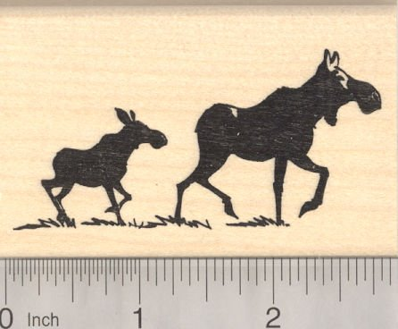 Female Moose - Female Moose and Baby Silhouette Rubber Stamp