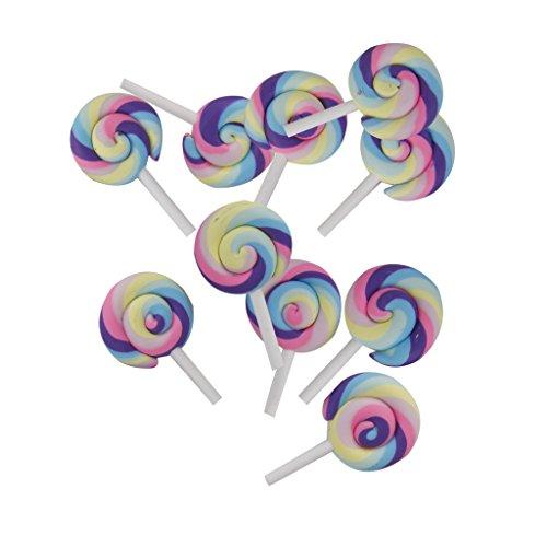 10pcs Colorful Clay Lollipop Candy Embellishment Cabochon DIY Craft