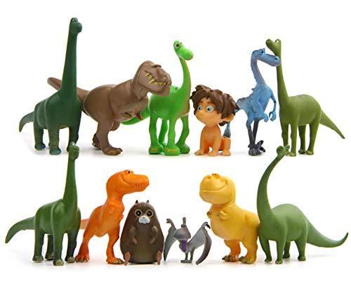 Astra Gourmet Dinosaur Figure Set - Kit of 12 Deluxe Mini Cake Toppers Cupcake Decorations Featuring Arlo and Family