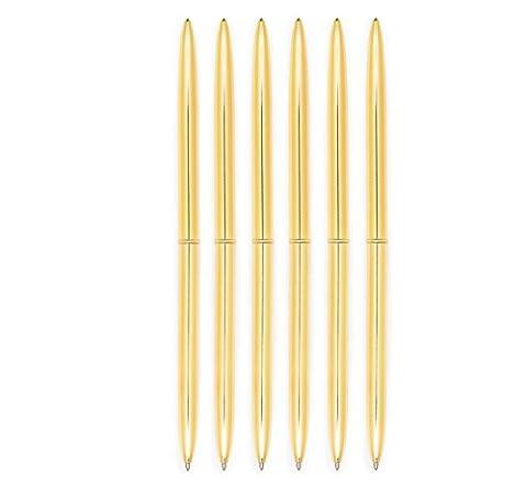 Pens Gold Pen Set 6 Piece Set - Gold Ballpoint Pen Lightweight Metal Black Ink - Gold Pens - Gold Office Supplies (Gold / Black (White And Gold Supplies)