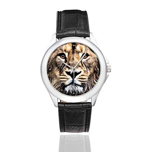 InterestPrint Abstract Animal Asian Lion Face Women's Waterproof Stainless Steel Watch with Black Leather Band