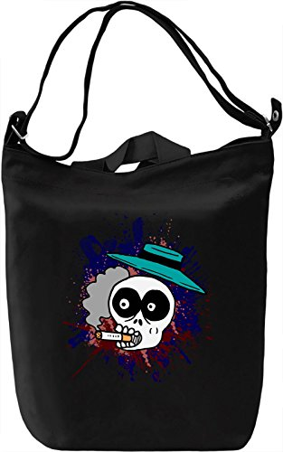 Skull With Hat And Cigarette Borsa Giornaliera Canvas Canvas Day Bag  100% Premium Cotton Canvas  DTG Printing 