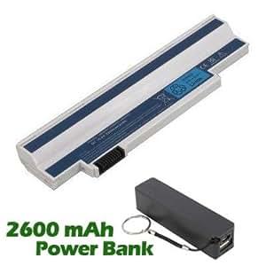 Battpit Bateria de repuesto para portátiles Acer Aspire One 532h-2Bb (2200mah / 24wh) con 2600mAh Banco de energía / batería externa (negro) para Smartphone