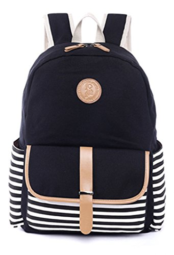 H.X Student Canvas Backpack Casual Travel Bag 14 Inch Laptop Backpack (Black)