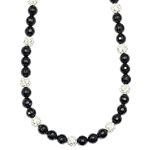 Faux Onyx and Crystal Disco Ball Shamballa Necklace 30 inches