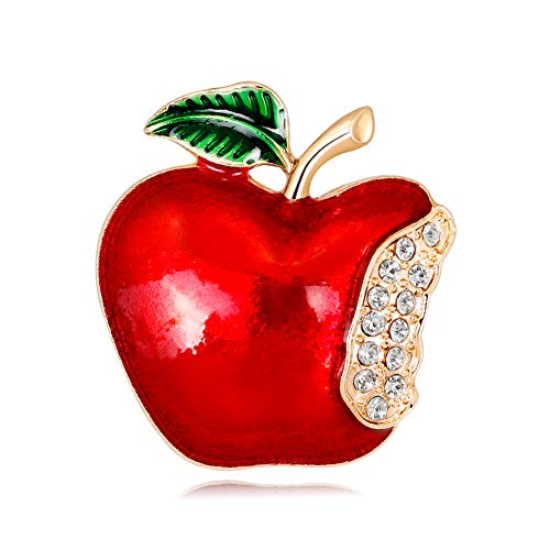 MoGist Lovely Little Apple Pin Brooch Crystals Brooch Pin Christmas Party Decoration - Brooch Apple Crystal