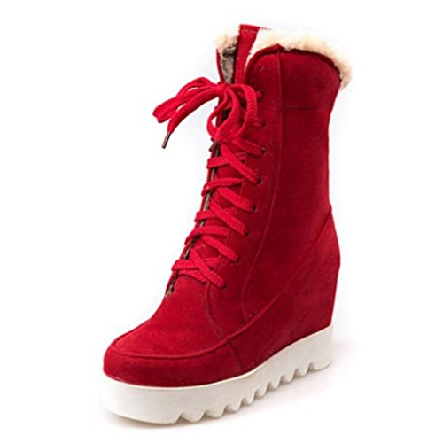 Slinny Women Mid Calf Wedges Boots Thick Fur Cross Strap Height Increasing Boots Warm Shoes Women Footwears Red 3