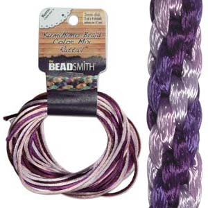 Beadsmith XCR-3033 Lilac Purple Mix 4 Color Satin Rattail Cord, 3 yd/2mm