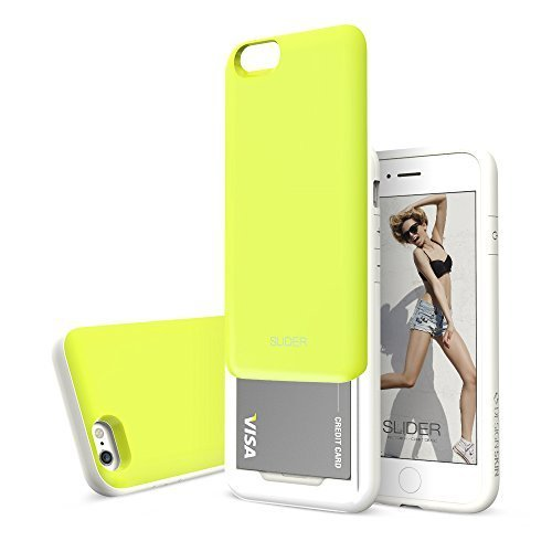 Slider 3-Layer TPU and PC Slim Bumper Wallet Case with Card Slot for iPhone 6s Plus / 6 Plus - Lime Green