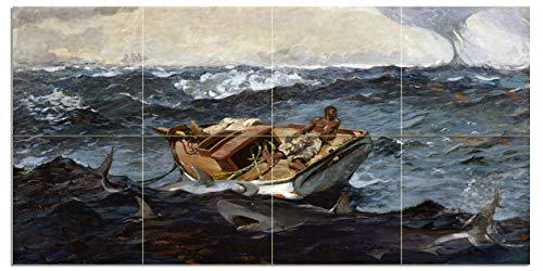 Tile Mural Seascape Boat Fisherman Fish Shark The Gulf Stream by Winslow Homer Kitchen Bathroom Shower Wall Backsplash Splashback 4x2 6