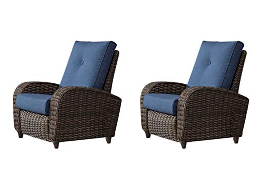 - SunVilla Pair (2 Chairs) Outdoor All-Weather Fully Woven Wicker 3-Position Recliner Chair