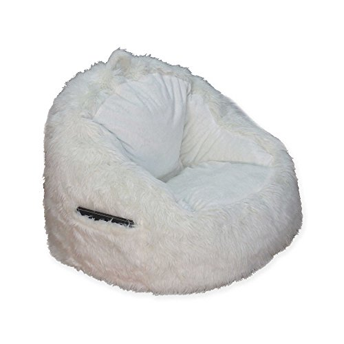 Structured Tablet Fur Pocket Bean Bag in Cream w/ Side Pocket for Book or Tablet, 250 lb. Weight Capacity