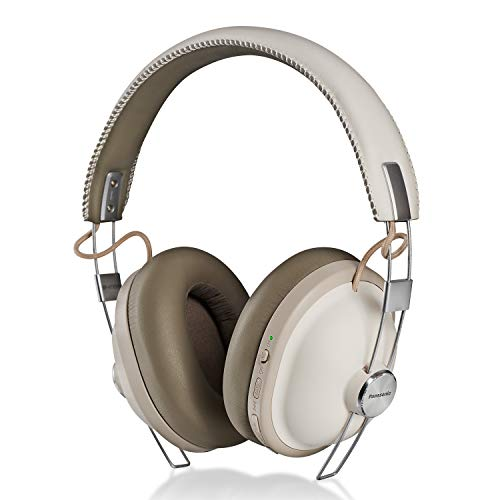 PANASONIC Bluetooth Wireless Headphones with Noise Cancelling, Voice Assist, Bass Enhancer and 24-Hour Playback. Retro Modern Style - RP-HTX90N-W - Over The Ear Headphones (Vanilla White)