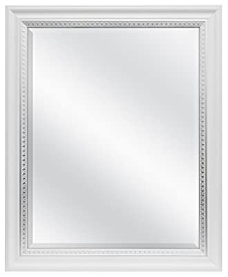 MCS 22x28 Inch Wall Mirror with Embossed Accent, 27x33 Inch Overall Size, White (83049)