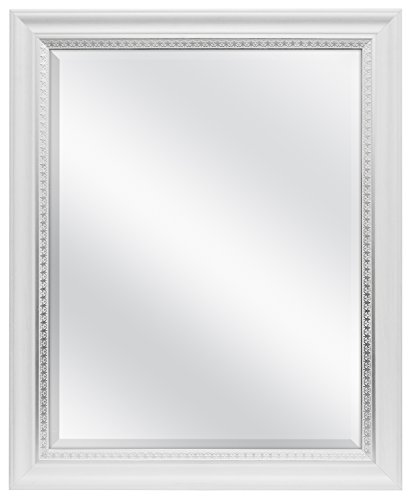 MCS 22x28 Inch Embossed Accent Wall Mirror, 28.5 x 34.5 Inch, White Wood Grain with Silver Trim Finish