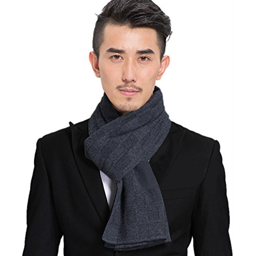 Scarf/Pure color long wool warm in autumn and winter knitted scarf/ men's couple wild double-sided scarf-A One Size by clothing