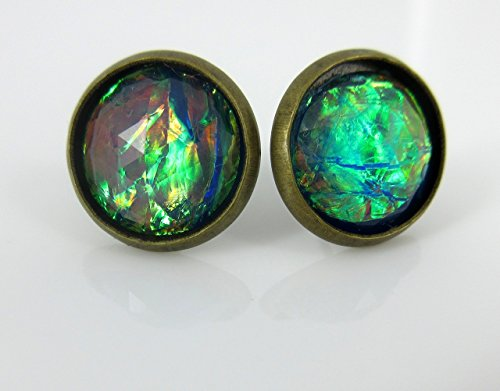 Natural Gold Nugget Ring (Antiqued Gold-tone Blue Faceted Resin Cellophane Stud Earrings 12mm)
